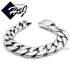 """9""""MEN's Stainless Steel HEAVY WIDE 17x5mm Silver Cuban Curb Chain Bracelet*B70"""
