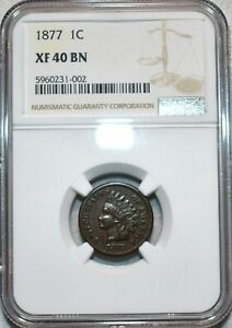 NGC XF-40 BN 1877 Indian Head Cent, Well-detailed, Key-Date specimen!