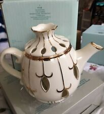 Party Lite Tea for Two Ivory Teapot with Gold Trim - Holds Tealights New