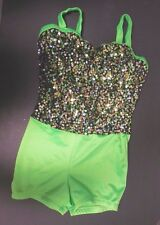 New Shorty Unitard Boycut Sequin Bodice Lime Green Black Small adult Dance Cstme