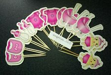 10 X Rosa BABY a tema per Torte Cupcake prelievi/Party TOPPER DECORAZIONI Baby Shower
