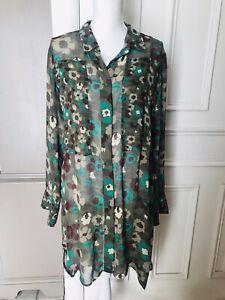 NANETTE LEPORE L'amour Women's Camo floral tunic Blouse Top Size XL Sheer Long