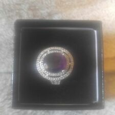 Womens 14K White  Gold  Over  SS Diamonds Saphire and  3.95  CTW Amethyst Size 7