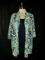 CJ BANKS Plus Size 2X Blouse Shirt Top Blue Orange White 3/4th Sleeve