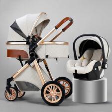 Baby Stroller 3 in 1 Foldable Luxury Pushchair High Landscape Pram Free Car Seat