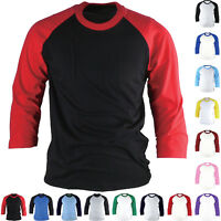 Raglan T-Shirt 3/4 Sleeve Baseball Jersey Round Crew Neck Sports Team Tee New