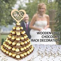 Wooden Heart Chocolate Dessert Display Holder Wedding Stand Decor