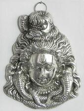 GENIAL MEDIO COLOR PLATA Shiva Hindú Metal Placa de Pared Máscara