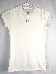 Under Armour White Athletic Short Sleeve Fitted Shirt Sport Women S Small