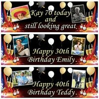 2 Personalised Birthday Banner Photo Adults Party Balloon Champaign Poster Deco