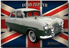 FORD ZEPHYR ZODIAC Metal Señal Clásico Coches Ford, CLÁSICO COCHES FORD