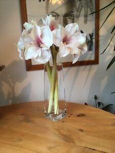 Artificial Tall Flowers In Elegant Glass Vase John Lewis