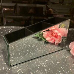 Mirror Makeup Vanity Remote control Organizer Velvet Lining Tabletop Beauty Box