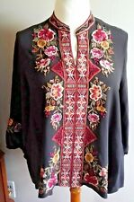 Johnny Was Nepal Embroidered Silk Peasant Blouse Size XL With Tags