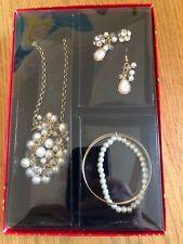 Jewelry set necklace pendant earrings bracelets simulated pearls diamond