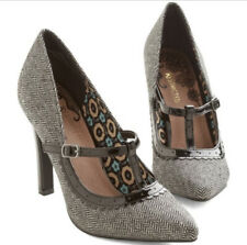 Restricted Modcloth Womens Brown Tweed T-Strap Houdstooth Pumps Heels Size 6