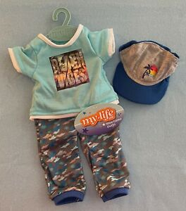 """My Life As Blue Camo Joggers T-shirt Hat 3 pc Clothing Set for 18"""" Boy Doll"""