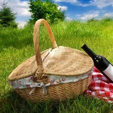 Outdoor Picnic Basket Willow Wicker Handmade Storage Holder Hamper W/ Lid Handle