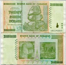 ZIMBABWE 20 BILLION DOLLARS 2008 P 86 CIRCULATED USED IN 100 TRILLION SERIES