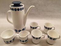 J&G Meakin Studio Cadiz Coffee Set for 4 Blue Star Pattern Vintage 1960s 1970s