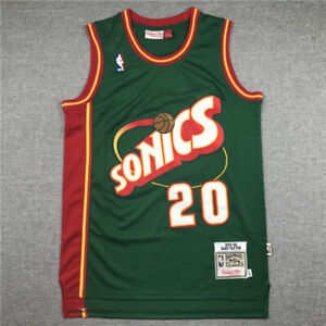 Retro 95 96 Gary Payton #20 Seattle SuperSonics Basketball Jersey Stitched Green