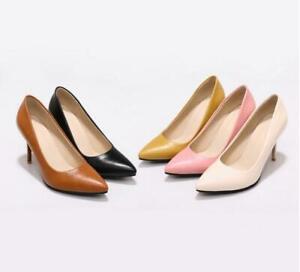 Fashon Ladies Pointy Toe Dress Shoes Stilettos Heels Pumps Pu Leather Slip On US