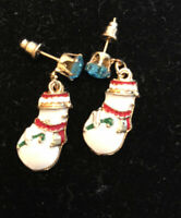 Betsey Johnson Snowman Earrings Blue Crystal Rhinestone Enamel Post