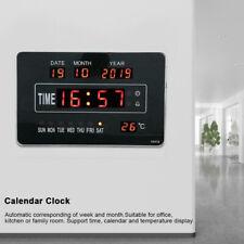 Large Jumbo Digital LED Wall Clock Desk Alarm Calendar Temperature Humidity