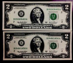 2003&2003 US 2 Dollars Fancy Number B 05268483 A B 04861856 A LOOK! Nice