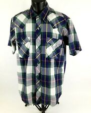 WB Mens Western Shirt Sz 161/2 L Short Sleeve Button Front Blue Green Plaid