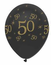 6 x Black & Gold Latex Balloons 50 Adults 50th Birthday Party Decoration Helium