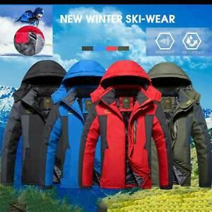 Mens Winter Jacket Hooded Thick Coats Thermal Waterproof Ski Snow Hiking Outwear