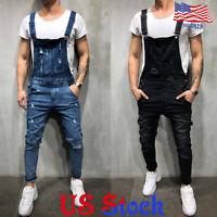 Men Denim Distressed Overalls Suspender Trousers Bib Pants Skinny Jean Jumpsuits