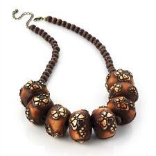 Mirada De Madera marrón grano Damas Moda Collar de mariposa