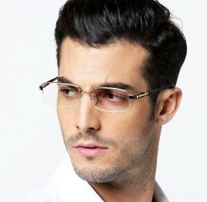 Pure Titanium Eyeglass frames Half Rim Business Men Glasses Gunmetal Luxury