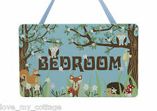 Wooden hanging Door Sign Woodland Forest Friends Kids Bedroom Owl Fox hedgehog