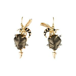 Alexis Bittar Hornet Baroque Brown Pearl Gold Plated Drop Earrings NWT
