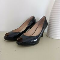 Wittner Pumps Size 37 Black Patent Leather Peep Toe Work Business Shoe Women's