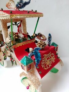 Vintage Christmas Centerpiece lrg decoration Styrofoam chenille car bottle brush