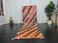 "Moroccann Vintage Handmade Runner Rug 2'9""x8'5"" Checkered Red Orange Wool Carpet"