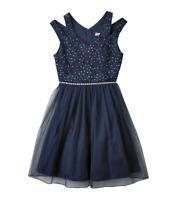 Girls Lots of Love Speechless Dress Rhinestone Double Strap V-Neck Blue Size 16