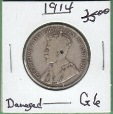 1914 Canadian 50 Cents Silver Coin - G-6 (Damaged)