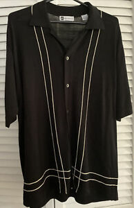 Bachrach Mens Sweater Shirt .Black Button Front  Short Sleeve LARGE