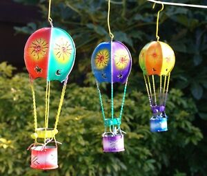 Metal Hot Air Balloon Hanging Outdoor Tealight Candle Holder