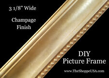 """Diy 36"""" x 48"""" 3 1/8"""" Wide Champagne Finish Wood Picture Frame Moulding"""