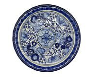 """10/"""" Traditional Genuine Blue Hand-Made in Puebla Mexico Talavera Pottery Plate"""