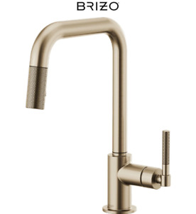 Brizo 63053LF-GL Litze Single Knurled Handle Pull Down Kitchen Faucet Luxe Gold