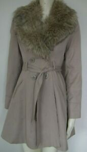 PrimarkBeige Stone Knee Length Trench Coat With Removable Faux Fur Collar Size 8