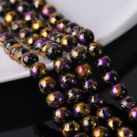 30pcs 10mm Plated&Painted Round Crystal Glass Loose Spacer Beads Black&Purple
