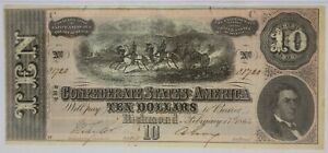 PMG XF 40 Confederate States of America $10 Note 1864